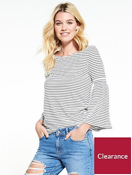 v-by-very-fluted-cuff-long-sleeve-top-stripe