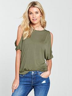v-by-very-cupro-cold-shoulder-t-shirt-khaki