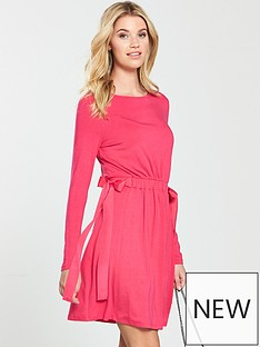 v-by-very-bow-side-jersey-dress-hot-pink