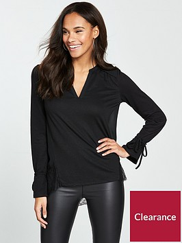 v-by-very-lace-trim-linen-top-black