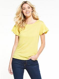v-by-very-fluted-sleeve-t-shirt-yellow