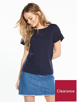 v-by-very-fluted-sleeve-t-shirt-navy