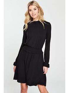 v-by-very-shirrednbspwaist-jersey-skater-dress-black