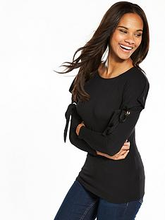 v-by-very-drape-tie-shoulder-top-black