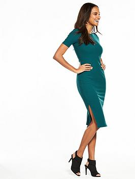 v-by-very-jersey-bodycon-side-split-dress-forest-green