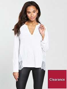 v-by-very-lace-trim-linen-mix-top