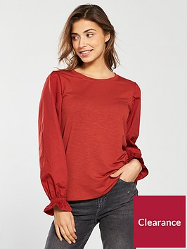 v-by-very-cotton-rounded-sleeve-top-rust