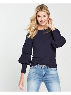 v-by-very-balloon-sleeve-top-navy