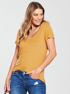v-by-very-premium-v-neck-t-shirt-mustard