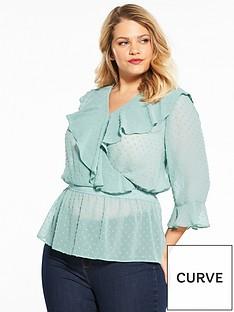v-by-very-curve-dobby-wrap-ruffle-blouse-mint