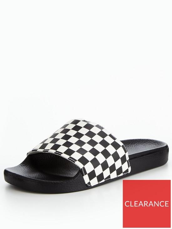 09c131c1e Vans Mens MN Slide-On Checkerboard Slider - Black White