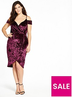 ax-paris-curve-cold-shoulder-wrap-front-bodycon-dress-plum