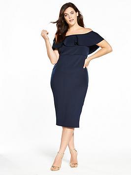 v by very curve ruffle bardot bodycon dress