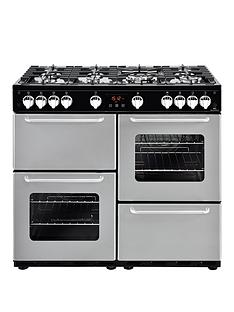 New World NW 100G 100cm Gas Range Cooker - Silver with Connection