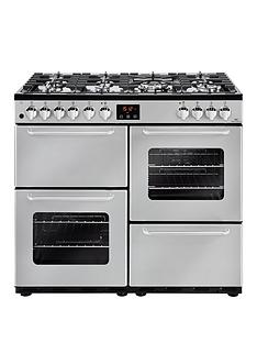 New World NW 100DFT 100cm Dual Fuel Range Cooker - Silver