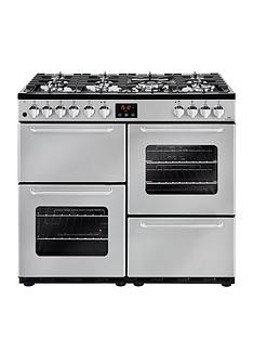New World NW 100DFT 100cm Dual Fuel Range Cooker with Connection - Silver