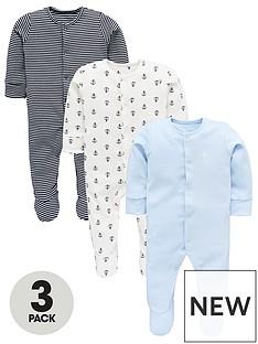 mini-v-by-very-baby-boys-3pk-stripeplainaop-sleepsuits
