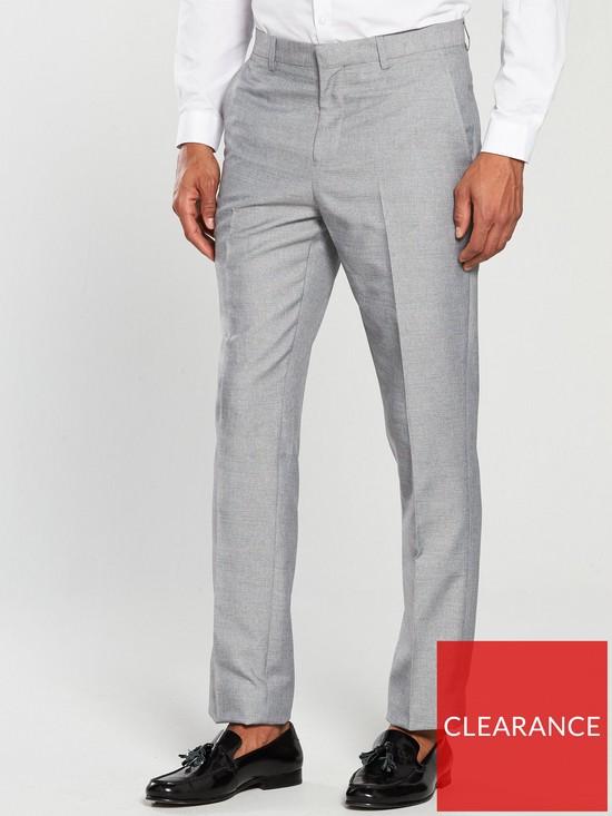 V By Very Slim Textured Full Length Trouser Grey Very Co Uk