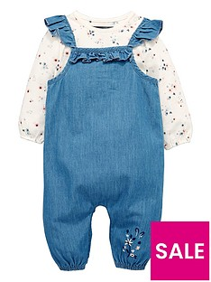 mini-v-by-very-baby-girls-frill-denim-dungaree-amp-floral-body-set