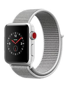 Apple Watch Series 3 (GPS + Cellular), 38mm Silver Aluminium Case with Seashell Sport Loop