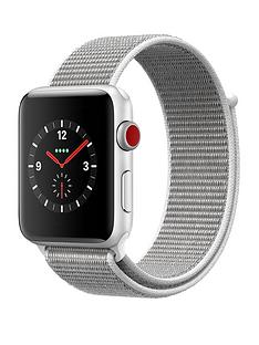 Apple Watch Series 3 (GPS + Cellular), 42mm Silver Aluminium Case with Seashell Sport Loop