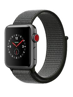 Apple Watch Series 3 (GPS + Cellular), 38mm Space Grey Aluminium Case with Dark Olive Sport Loop