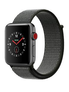 Apple Watch Series 3 (GPS + Cellular), 42mm Space Grey Aluminium Case with Dark Olive Sport Loop