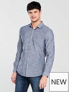 v-by-very-short-sleeve-horizonal-slub-shirt