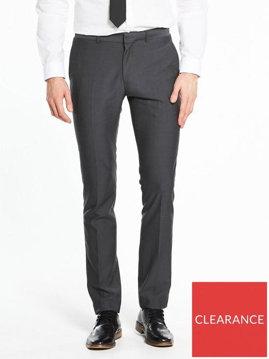 a0e64db581 Skinny Herringbone Suit Trouser - Charcoal