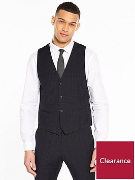 v-by-very-slim-check-suit-waistcoat-navy