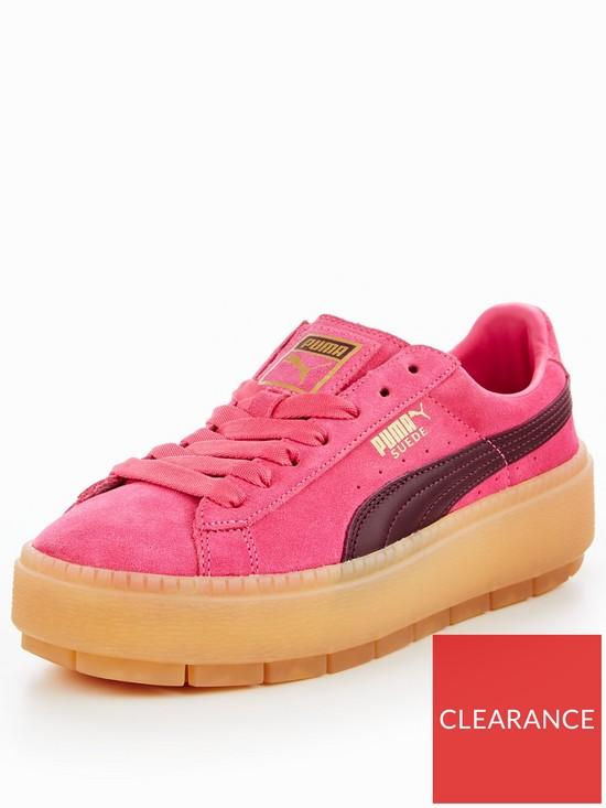 Puma Suede Platform Trace Block - Pink Burgundy  0a1a24b31