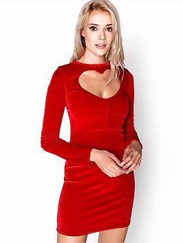 Girls On Film Heart Shape Front Velvety Bodycon Mini Dress - Red