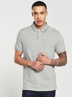 v-by-very-short-sleeve-pique-polo-top-grey