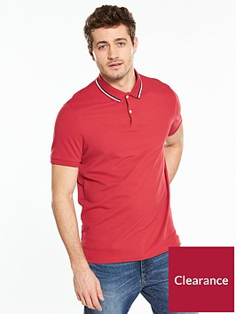 v-by-very-short-sleeve-pique-polo-red
