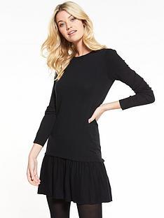 v-by-very-ruffle-hem-swing-knitted-dress-black