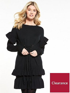 v-by-very-frill-hem-and-sleeve-corset-waist-dress