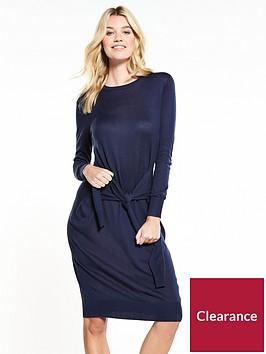 v-by-very-tie-waist-knitted-dress