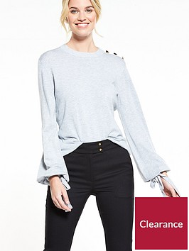 v-by-very-tie-cuff-balloon-sleeve-button-detail-jumper-grey-marl