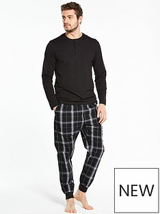 v-by-very-pj-set-ls-grandad-amp-woven-check-cuffed-hem-bottoms