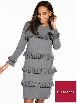 v-by-very-frill-detail-slouch-fit-knitted-dress-charcoal-marl