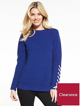 v-by-very-lace-up-sleeve-textured-knit-jumper-blue