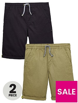 v-by-very-pack-of-2-boys-pull-on-woven-shorts-khakiblack