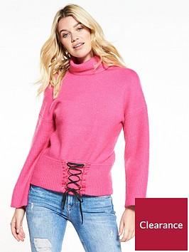 v-by-very-corset-hem-roll-neck-jumper-raspberry