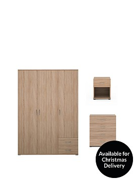 madrid-3-piece-package-3-door-2-drawer-wardrobe-4-drawer-chest-and-1-drawer-bedside-cabinet