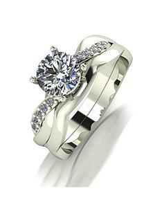 moissanite-9ct-gold-110ctnbspequivalent-bridal-ring-set