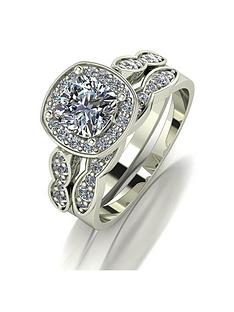 moissanite-9ctnbspgold-175ctnbspequivalent-total-cushion-cut-ring-set