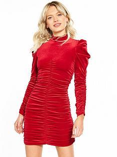 miss-selfridge-ruched-volume-sleeve-velvet-dress