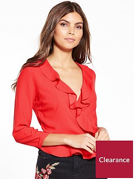 miss-selfridge-red-wrap-ruffle-top