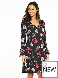 wallis-petite-mini-floral-fit-and-flare-dress
