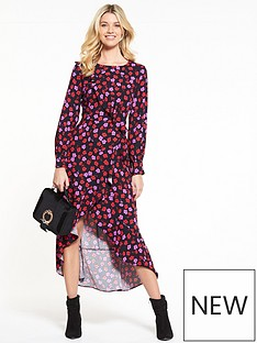 v-by-very-long-sleeve-dipped-hem-frill-midi-dress-floral-print